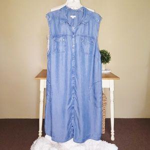 J.Jill | Sleeveless Chambray Shirt Dress